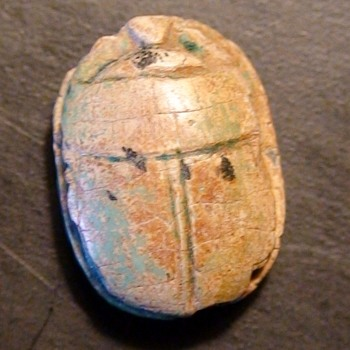 Ancient Egyptian Glazed Royal Scarab Thutmoses III Cartouche - Visual Art