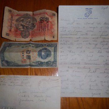 North Korean money and Marine Letter from Korean War Sept 14, 1950