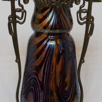 Art Nouveau Kralik Purple Swirl vase with Brass Mounted, circa 1910-15