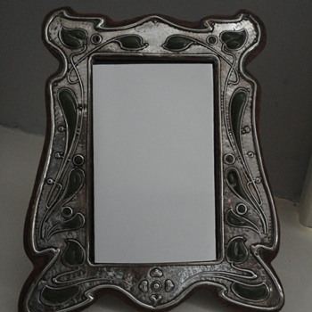 Art nouveau silver and enamel picture frame by Charles S Green & Co, Birmingham c. 1900 - Sterling Silver