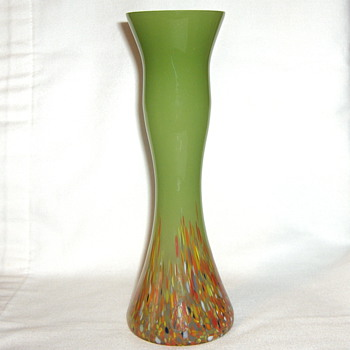 Newest Signed CZECH Glass Opaque Celery Spatter Base Vase - Art Glass