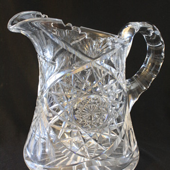 American Brilliant Cut Glass Pitcher Hobstar pattern - Glassware