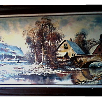 "Oil on Canvas 24""x48""/Title ""Lands"" or ""Landscape"" Signed ""David"" / Circa 20th Century"