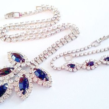 Royal Blue & Crystal Demi, 1965 or Earlier - Costume Jewelry