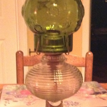 Pressed glass oil lamp