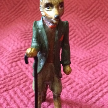 Austrian Cold Painted Bronze (Mr. Tod) Fox With Cane  - Animals