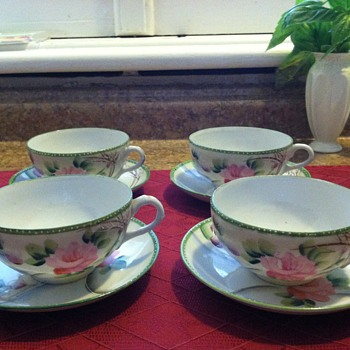 Four tea cups and saucers - made in Japan - China and Dinnerware