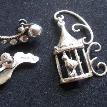 Vintage Taxco sterling earrings and Lang sterling birdcage pin - Silver