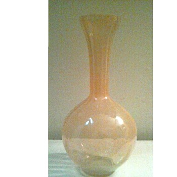 "Pink Ribbed Optic 8"" Vase /Unknown Maker and Age - Art Glass"