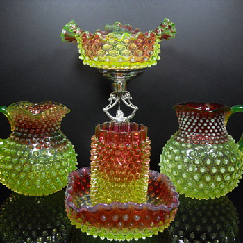 Hobbs Brockunier Rubina Verde Dewdrop Grouping - Art Glass