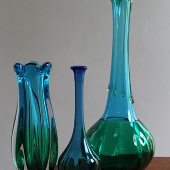 Trio of Three Japanese Vases - Art Glass