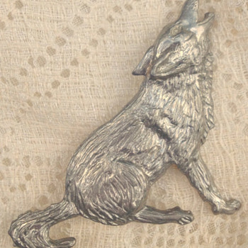 Vintage Maurice Milleur Howling Wolf Brooch - Costume Jewelry