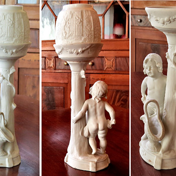 Bisque candle stands - D.R.G.M Germany - Lamps