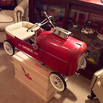 "Tri-ang Duke pedal car with period extras ""The Jim Clarke Special"""