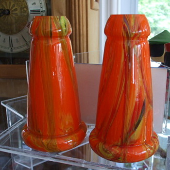 Pair of Czech Shell-Shaped Vases in Orange Swirl Decor - Art Glass