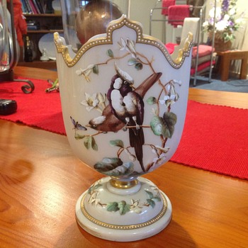 Porcelain ? Vase, bird and floral design, crown shape top