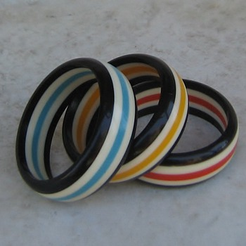 1960's lucite bangles in circus colors