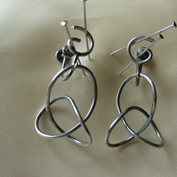Unsigned 50's Modernist Sterling Earrings