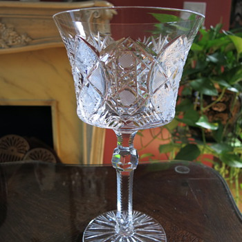 Old Crystal Water Goblet Cut Glass Zipper Stem - Glassware