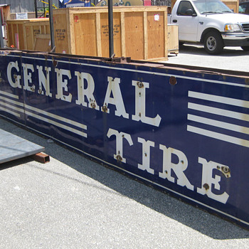 1940's THE GENERAL TIRE Porcelain Neon Sign HUGE double sided - Signs