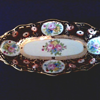 "Black and Gold 13"" Oval Nippon Handled Tray /Floral and Gilt Design / Morimura Bros.Wreath Mark /Circa 1912"