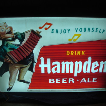 Hampden Beer-Ale 1950's Outside Advertising Sign - Breweriana