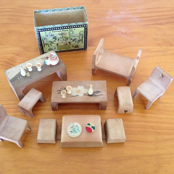 Vintage Japanese Furniture Puzzle Set