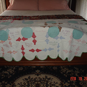 Signature Quilt... Thirty-two Signatures With Cities and States