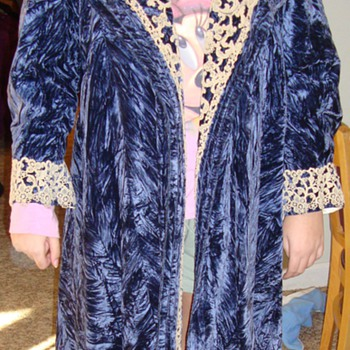 Crushed Blue Velvet Opera Coat - Womens Clothing