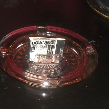 Depression Glass Windsor Pink Ashtray with Match Book Holder - Glassware