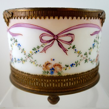 Enameled Milk Glass Powder Jar, Northern Bohemia, ca. 1790 - Art Glass