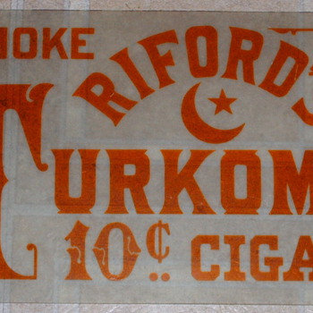 Rare Riford's Cigar Glass Sign  - Tobacciana