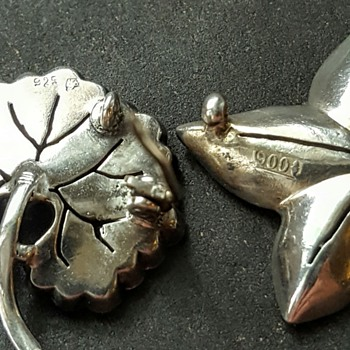 Help needed! Knoll&Pregizer and mysterious maker!Two paste and sterling brooches,