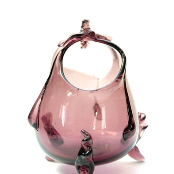 a basket vase by auguste jean in amethyst colour. circa 1880
