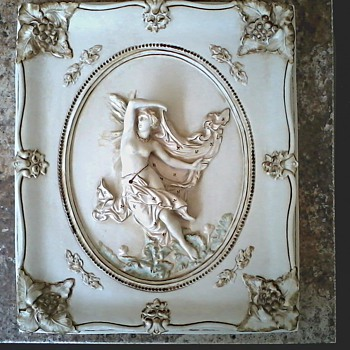 "Alexander Backer ""Nymph""  Tinted Chalkware Plaque / Marked / Circa 20th Century"