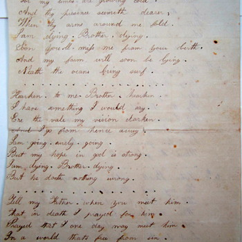 Handwritten poem by Kate Roelkey, American, ca. 1850 - The Dying Caliafornian (sic) - Paper
