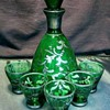 Italian Green With Silver Liqueur Set 1950's
