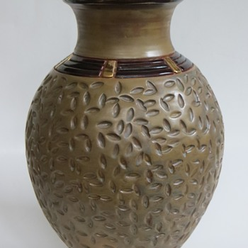 "Handsome Pot, Interesting Glazes & Gold accents~12""h, Signed J. Tory?...any guesses? - Art Pottery"