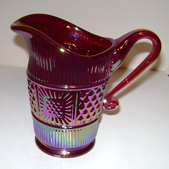 Fenton Carnival Glass Pitcher / Creamer - Sandwich Pattern