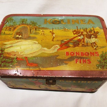 Kolinea Candy tin Black Americana with Stork Bird 1920s