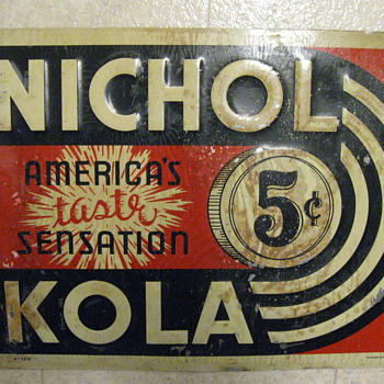 "Nichol Kola Embossed 10""x 14"" Tacker sign 1950's ? - Signs"
