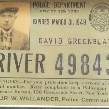 1940&#039;s NY cab drivers badge and ID card - Medals Pins and Badges