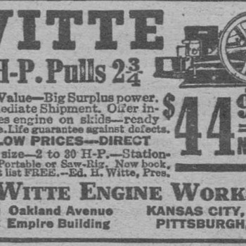 1919 Witte Farm Engine Advertisement