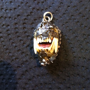tiny real weasel skull silver mounted pendant!
