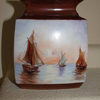 Nautical Scene Vase - Art Pottery