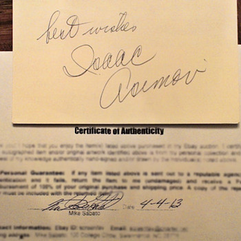 Isaac Asimov autograph - Paper