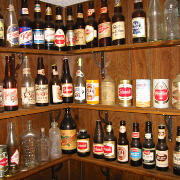 Bottles gathered over the years at Schmidt Brewing in St. Paul - Breweriana