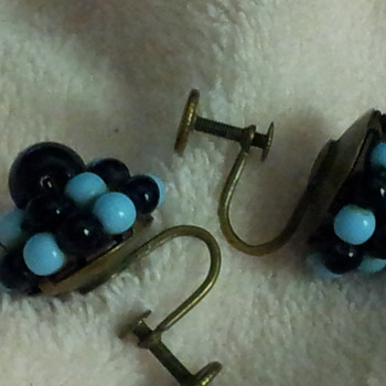 Blue & Black Glass Bead screw back earrings