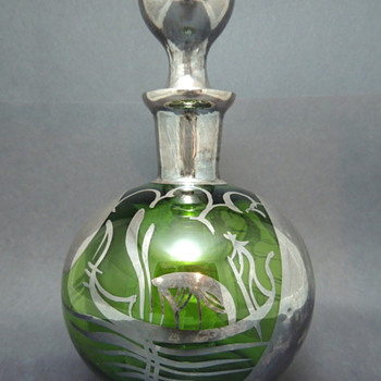Glass Decanter with Silver Overlay