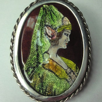 Enameled Limoges brooch/pendant silver mounted - Fine Jewelry